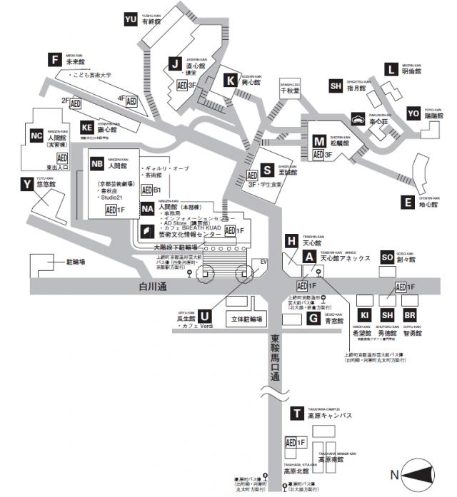 瓜生山キャンパスマップ